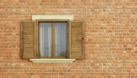 Detail of an old house with brick wall Stock Photo