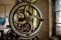 Detail of old industry metal manufactory machine Royalty Free Stock Photo
