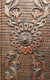 Detail from an old iron metal door. Close - up of ornament. Texture, background Stock Photo