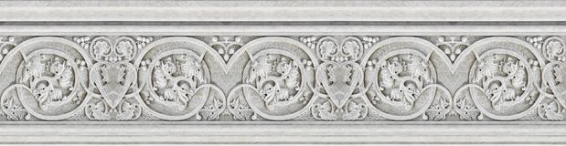 Detail of an old Italian molding stone eaves with foliage and pl Stock Images