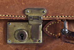Detail of an old leather suitcase Royalty Free Stock Photos