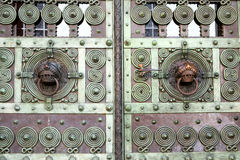 Detail of an old metal door Stock Image