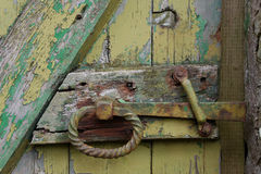 Detail of old painted gateway, showing paint texture, Lake district. Stock Image