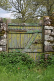 Detail of old painted gateway, showing paint texture, Lake district. Stock Images