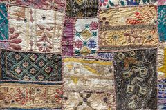Detail of a old patchwork carpet Royalty Free Stock Photos