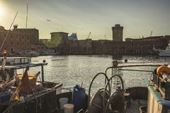 Detail of the old port of Livorno stock images