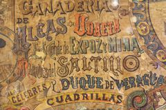 Detail of an old poster of bullfights. Spain royalty free stock photos