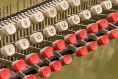 Detail from old punch card machine Royalty Free Stock Images