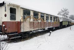 Detail of a old railway car Stock Photo