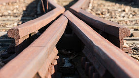 Detail from a old Railway swith track Stock Photos