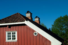 Detail of old, red house. Detail of old, wooden, red house in Baerums Verk, Norway Royalty Free Stock Photos