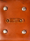 Detail of old red leather briefcase Stock Images