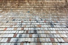 Wood-roofed roof as a wooden background royalty free stock image