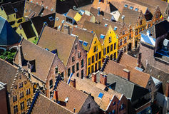 Detail of old rooftops and colorufl houses in historical town Royalty Free Stock Images