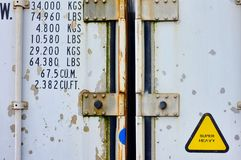 Detail of Old Shipping Storage Containers. Detail of old rusted and battered steel shipping containers now used, or repurposed, as rental storage containers royalty free stock image