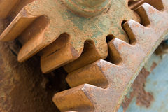 Detail of old rusty gears. Transmission wheels Royalty Free Stock Images