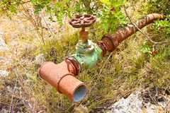 Detail of an old rusty hydraulic valve Royalty Free Stock Photography