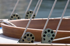 Detail of old sailingboat. Details of the cockpit of an old sailing boat Stock Images