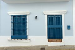 Detail of an old San Juan house in Puerto Rico with door and win royalty free stock images