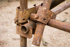 Detail of old scaffolding Stock Photos