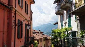 Detail of old scenic streets Salita Serbelloni in Bellagio, picturesque small town street view on Lake Como, Italy Stock Photography