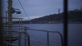 Detail of an old ship`s deck at twilight stock footage