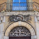 Detail of Old Sienna Building, Italy. Elaborate decorative sculptures on facade of old building in Sienna Old Town, Italy Royalty Free Stock Photography