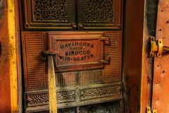 Detail of old Sirocco air heater oven door. This vintage oven manufactured by Davidson. Kandy, Sri Lanka - April 12th, 2017: Detail of old Sirocco air heater royalty free stock photos