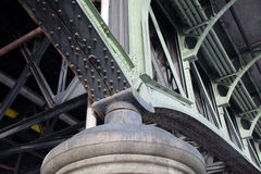 Detail of an old steel bridge construction Royalty Free Stock Photography