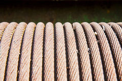 Detail of an old steel cable wrapped up in a coil Royalty Free Stock Image
