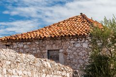 Detail of old stone house in a countryside in Croatia. Detail of old stone house in a countryside in Croatia, Europe Royalty Free Stock Image