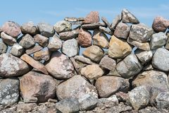 Detail of an old stone wall. Detail of an old dry stone wall at the swedish island Oland Royalty Free Stock Photo