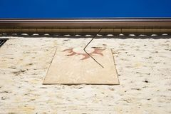Detail of old sundial on a sunny day in a mediterranean country royalty free stock photography