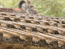 The detail of old tile roof Stock Photography