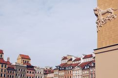 Detail of The Old Town with copy space, Warsaw, Poland stock photo