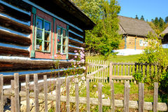 Detail of old traditional wooden house in Slovakia, Eastern Euro Stock Photo