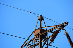 Detail of old transmission tower also power tower or electricity Royalty Free Stock Image