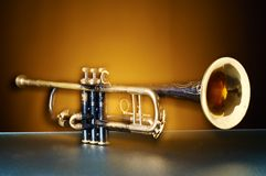 Detail of an old trumpet Royalty Free Stock Image