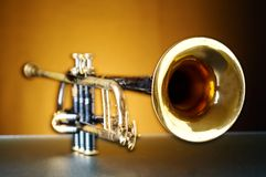 Detail of an old trumpet Stock Image