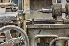 Detail of the old and used hole cuttern in the carpentry worksho Stock Photo