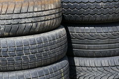 Detail old used tires stacked Stock Photo