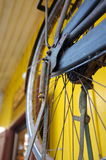 Detail of old vintage and antique wheel bike Stock Image