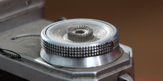 Detail of an old vintage film camera ,macro Stock Photography