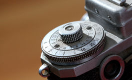 Detail of an old vintage film camera ,macro Royalty Free Stock Images