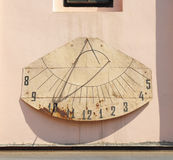 Detail of Old Vintage Sundial. On the Side of Basilica Exaltation of the Cross in CHERNIVTSI, UKRAINE Stock Photography