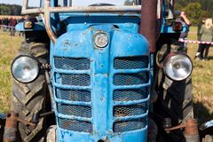 Detail of old vintage veteran tractor Zetor from former Czechoslovakia stands on field stock photo