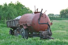 Water tank truck. Detail of old water tank truck Royalty Free Stock Image