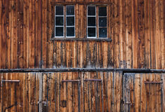 Detail of old and weathered barn doors stock photo