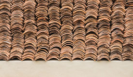 Detail of old weathered terracotta roof tiles Royalty Free Stock Photo
