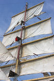 Detail of old white sailing ship Royalty Free Stock Photography
